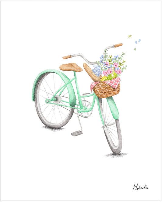Affiche bicyclette vélo Fait à Montréal Quebec Canada - Bicycle art print poster made in Montreal Quebec Canada, Hobeika Art