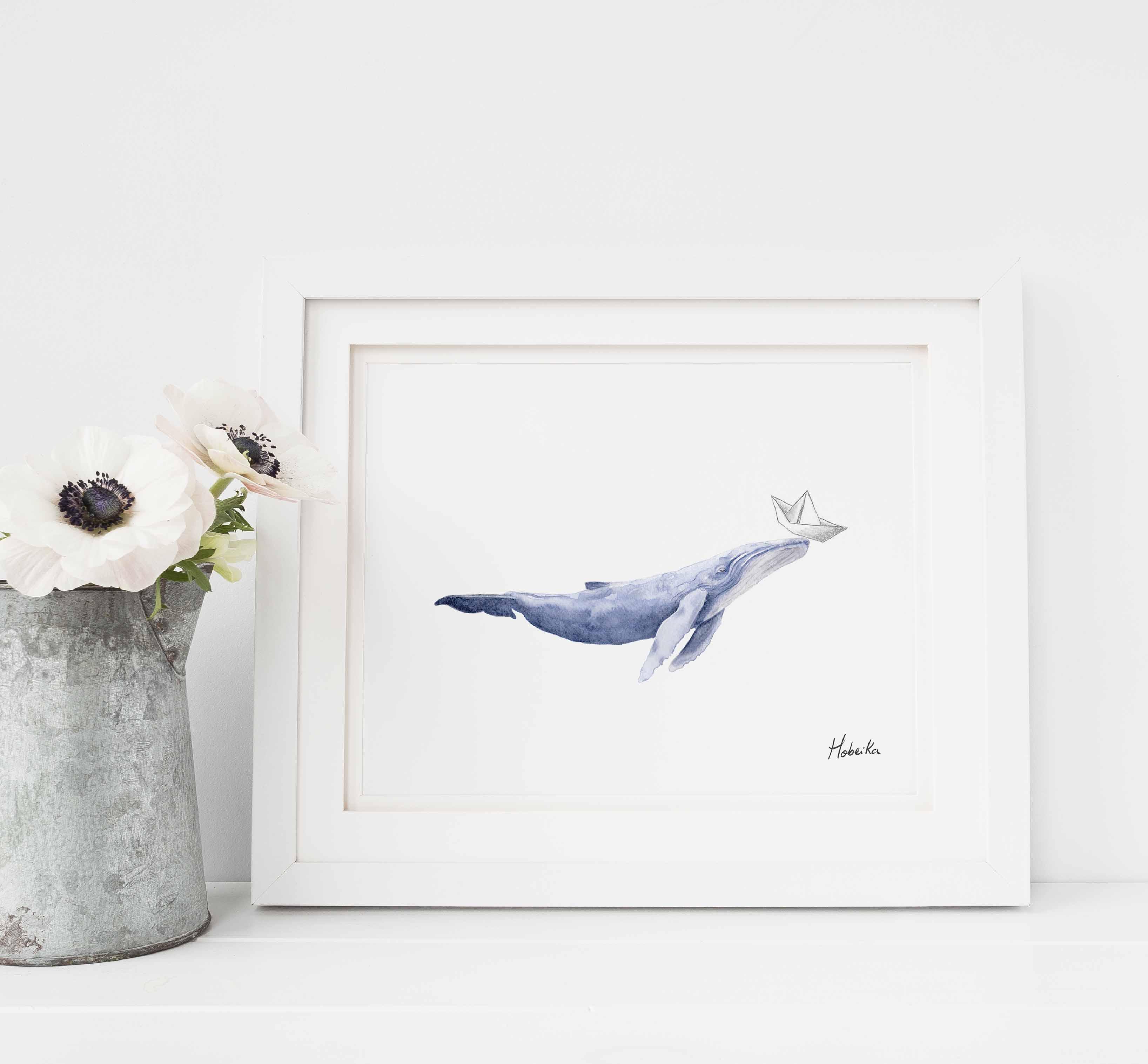 Baleine bleu Affiche