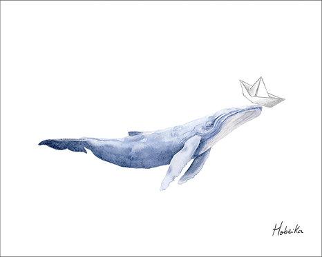 Affiche baleine blue, Fait au Québec, Canada, Blue whale art print,  Made in Quebec Canada