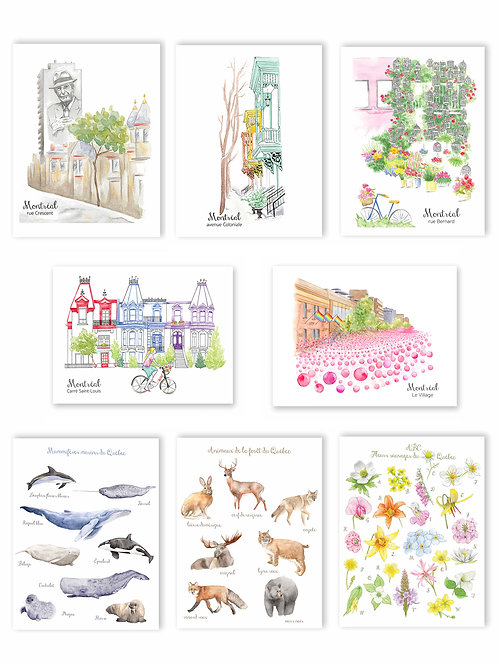 5 Postcards of your choice amongst 8 designs