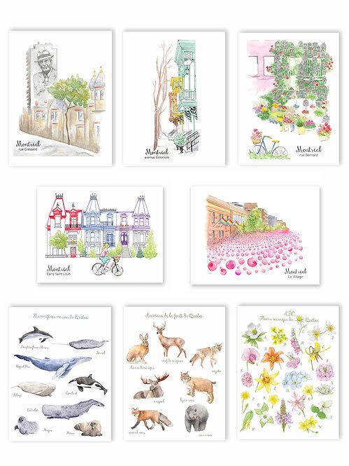 5 Cartes postales de votre choix parmi 8 modèles