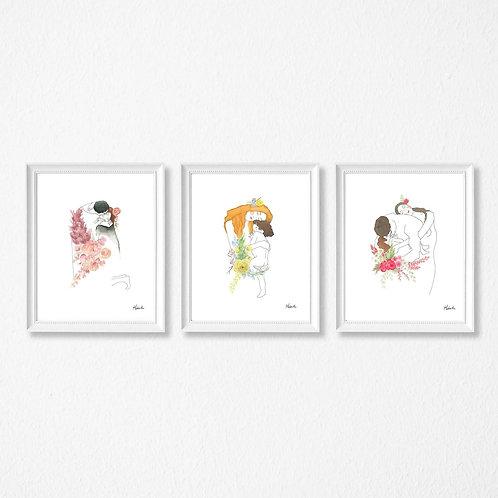 Trilogie de Gustave Klimt, Amour, maternité et famille, Affiche Hobeika Art