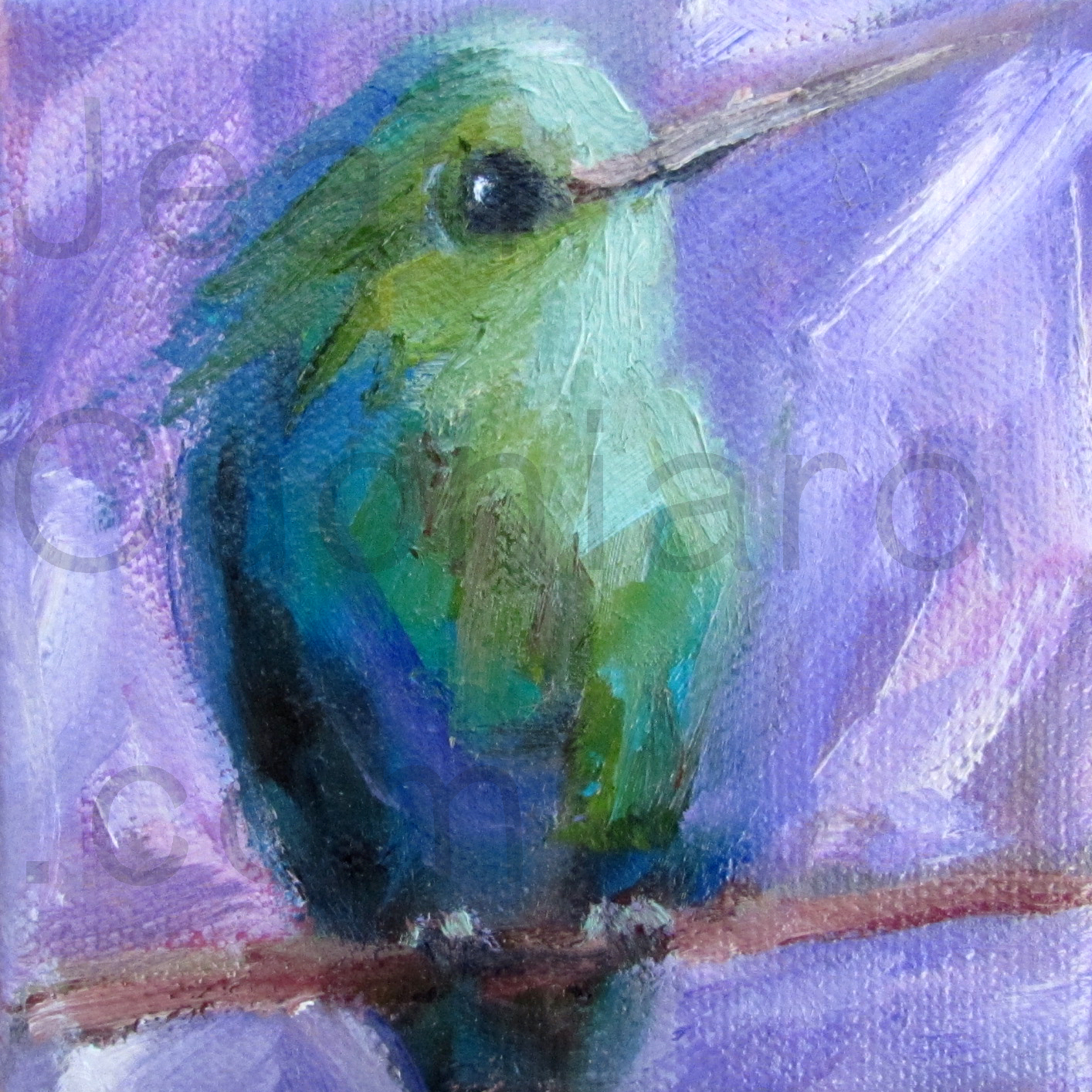 Purple Hummingbird, Oil, 4 x 4""