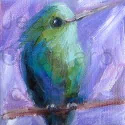 """Purple Hummingbird, Oil, 4 x 4"""""""