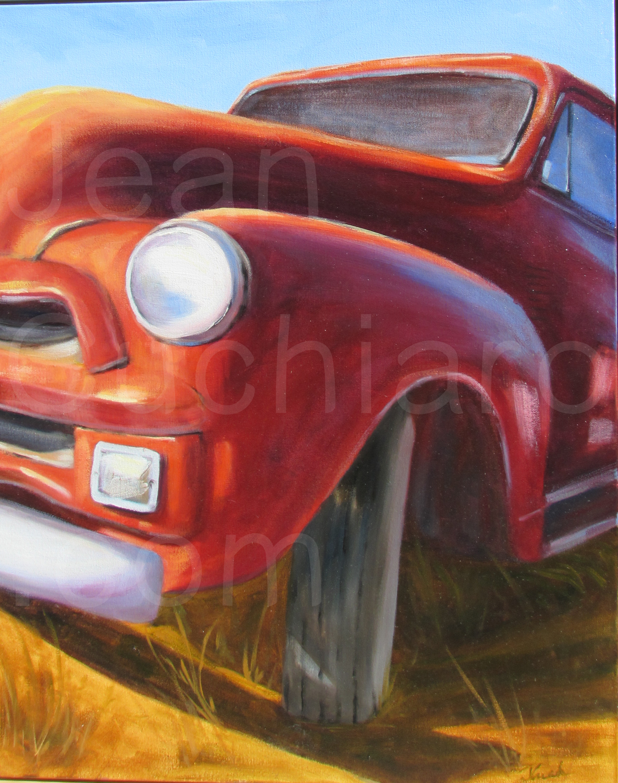 Red Mountain Truck, Oil, 24_ x 30_