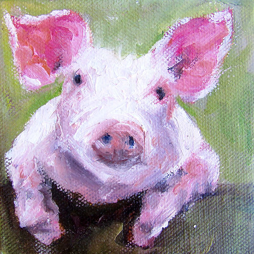 """Friendly Pig"" 4x4 print"