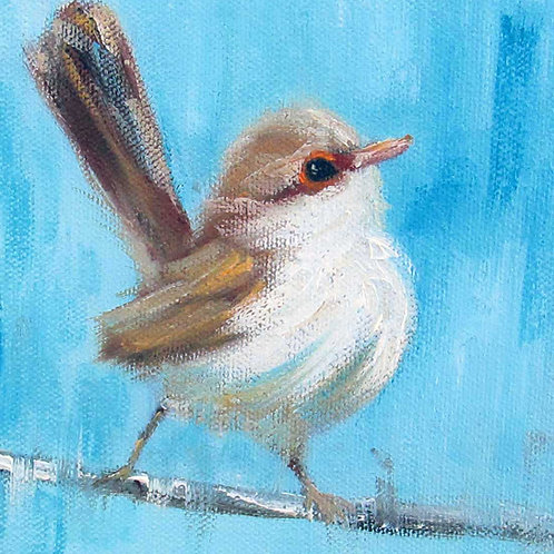 """Happy Wren in Blue"" 4x4 print"