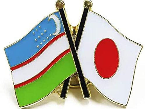 日本国旗とウズベキスタン国旗ピンバッジ