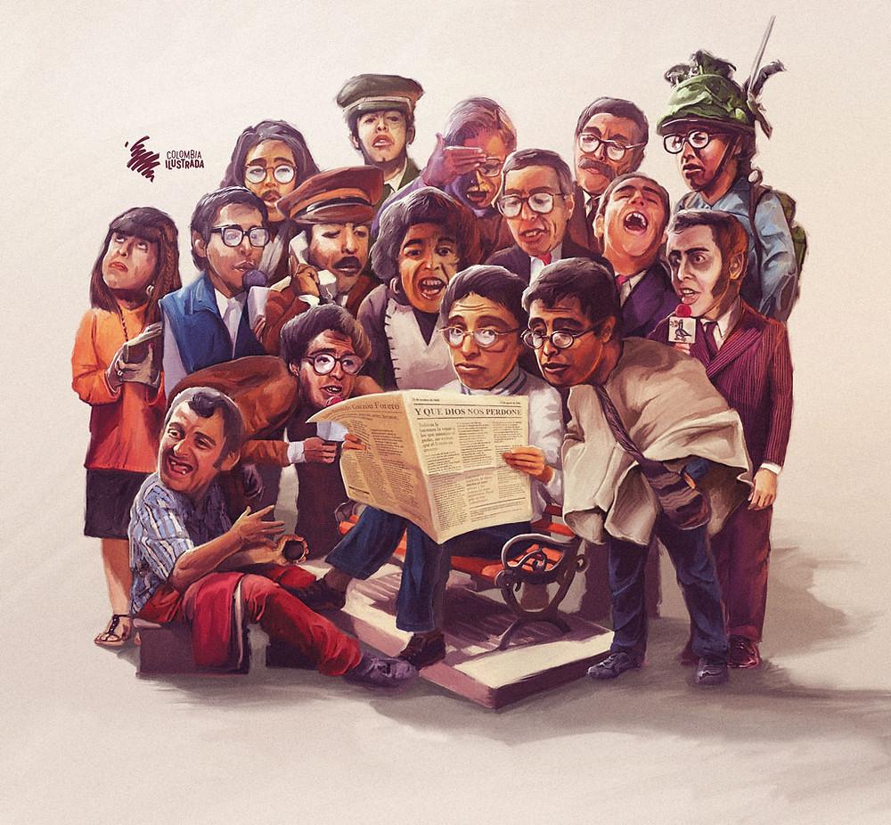 Personajes de Jaime Garzón - Ilustración cortesía de Colombia ilustrada