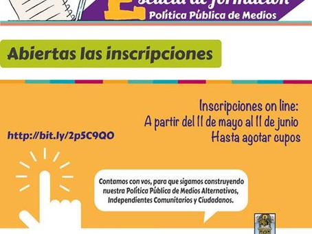 Abiertas las inscripciones de la Escuela de formación Pólitica Pública de Medios