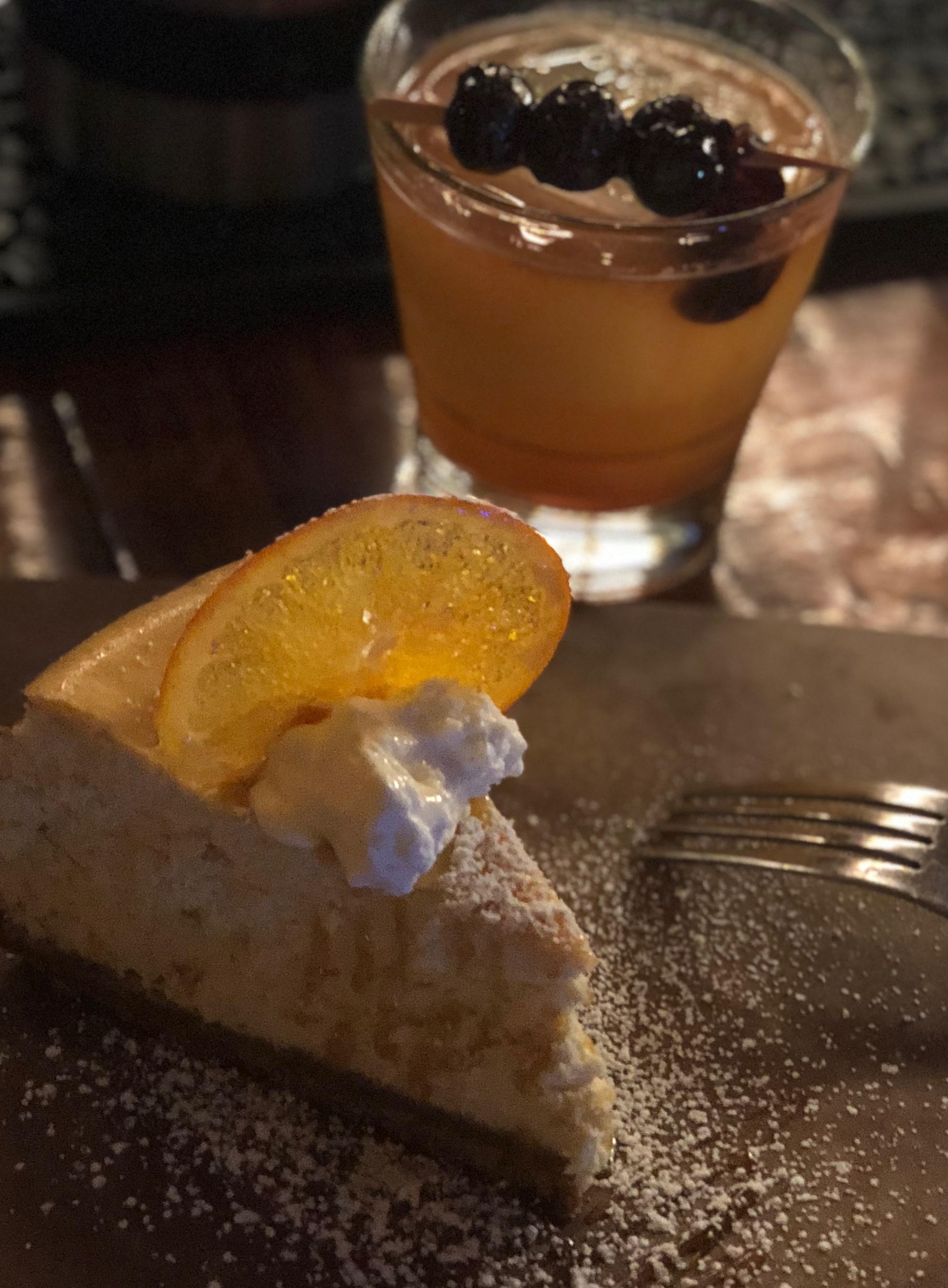 House made cheesecake with cocktail