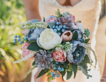 Dusty Blue and Pink Posy Bouquet