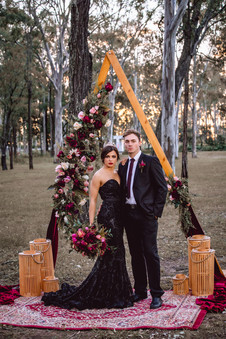 Burgundy Wedding Ceremony Set Up