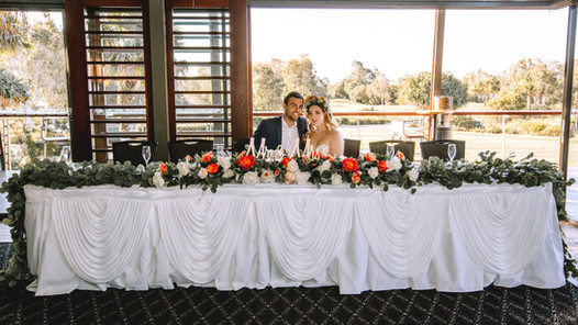 Bridal Table Skirting with Swags
