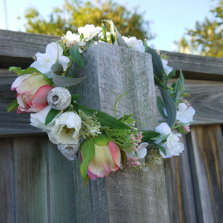 Blush Pink and White Peony Flower Crown