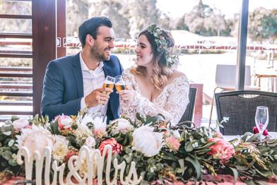 Dusty Rose Australian Native Bridal Table Arrangement