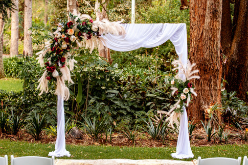 Boho Arbour Florals & White Drapes