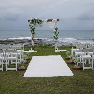 White Wedding Ceremony Styling