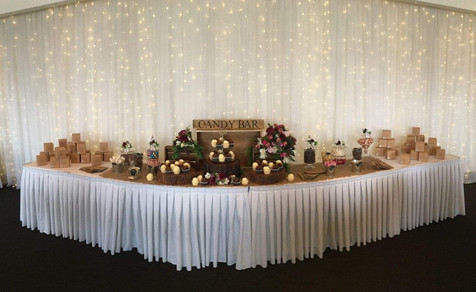 Bridal Table Skirting Candy Jars & Timber Slabs