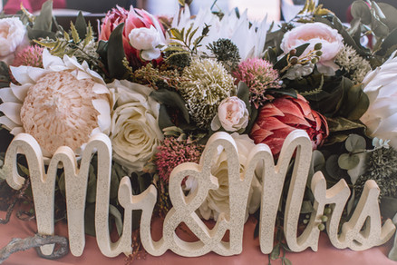 Mr & Mrs Sign with Dusty Rose Australian Native Bridal Table Florals