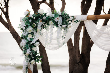 White Two Piece Arbour Flowers