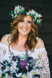 An Artificial Bridal Bouquet and Floral Crown