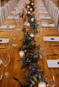 Rustic Trestle Tabels and Greenery Garland Hire