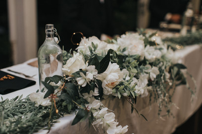White and Green Bridal Table Centre Piece