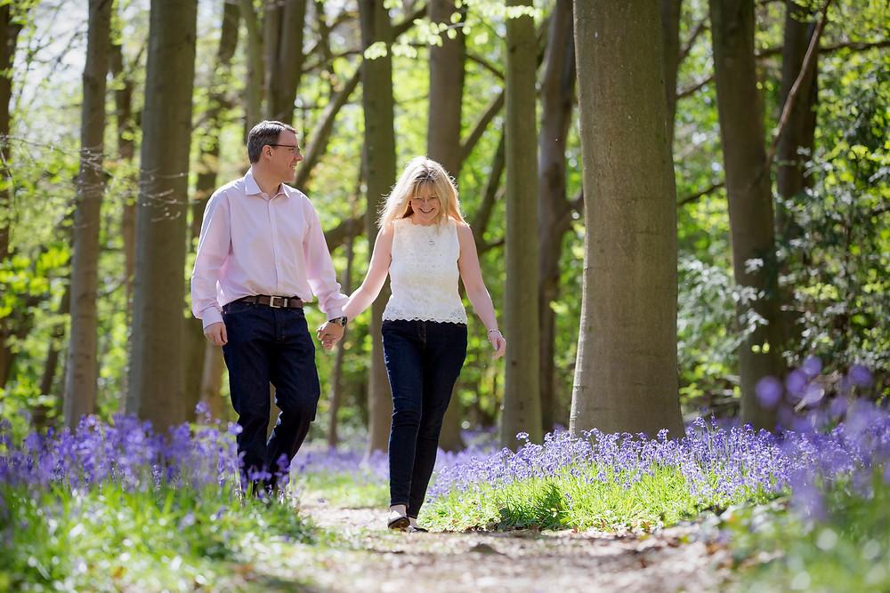 Somerset pre-wedding walk in the bluebells