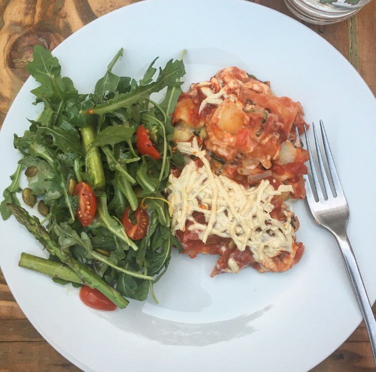 Lasagna with light summer side salad
