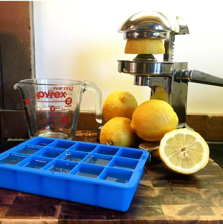 Freezing fresh lemons for warm cup of lemon water