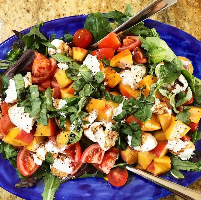 Wellness Wednesday- Peach Burratta Summer Salad
