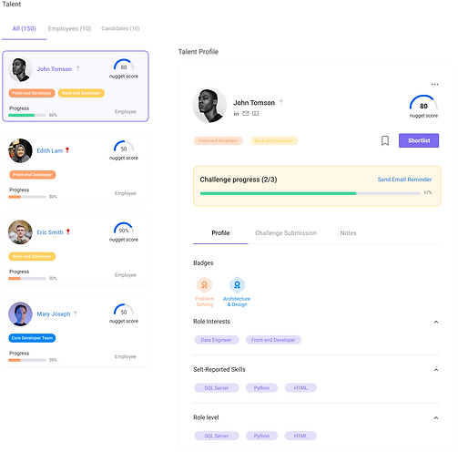 screenshot showcasing the features of understanding people more deeply through our AI product supertalent