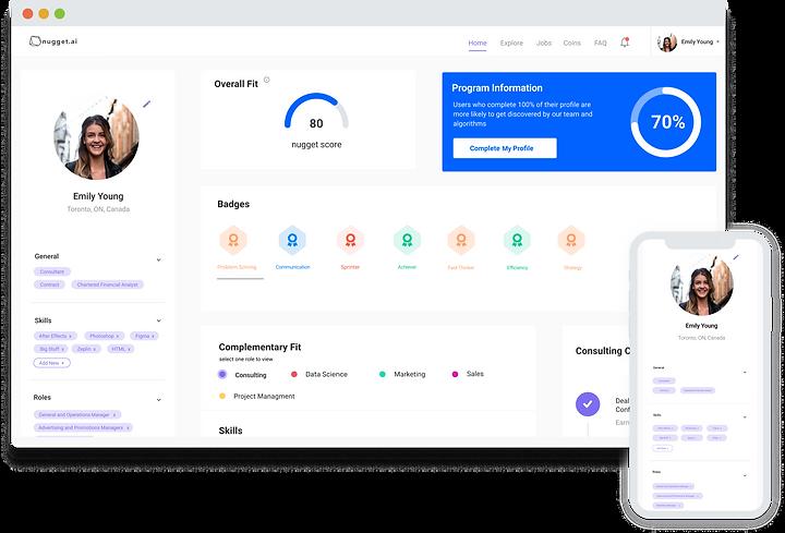 Desktop and Mobile Screenshots of our AI human resources Talent Platform