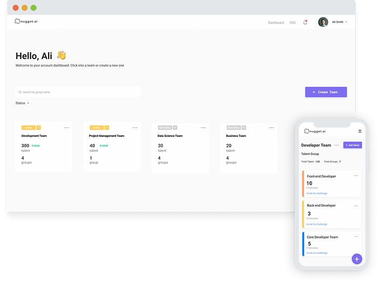 Desktop and Mobile screenshot of the landing page on our AI human resources SuperTalent platform