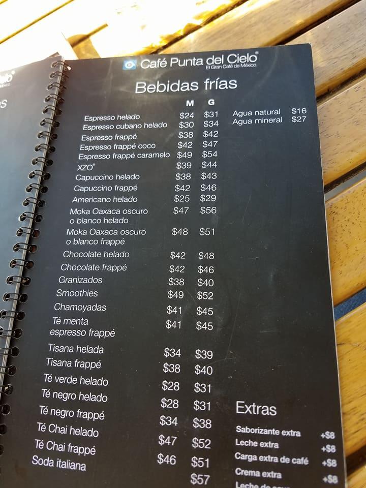 CafePuntoDelCieoloCafeFriMenu