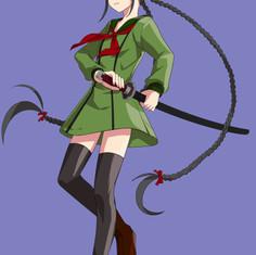 刀を構える少女