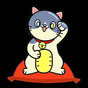 招き猫イラスト 青