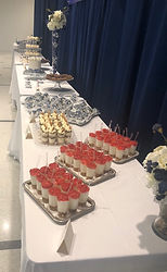 large corporate dessert table