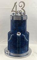 Diamonds and denim cake