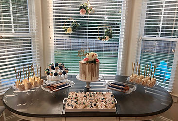 gender reveal dessert table