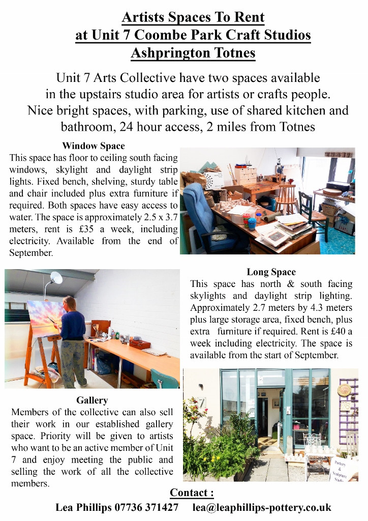 2 studio spaces for artists available at Coombe Park, near Totnes, Devon.
