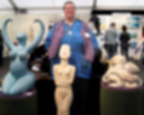 Ama Menec and Goddess sculptures at the windsor Contemporary Art Fair.