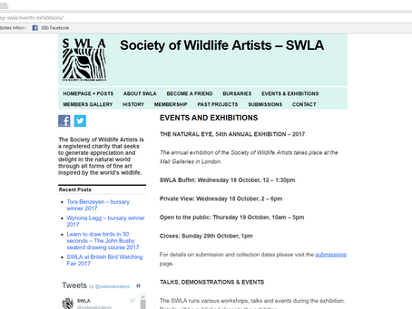 'Persecuted' has been pre-selected for the Society of Wild Life Artists Exhibition!