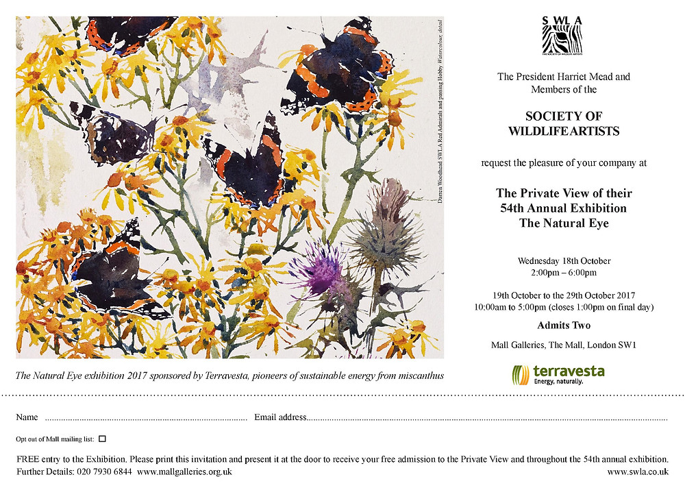 19th - 29th October Society of Wildlife Artists, Mall Galleries, The Royal Mall, London.
