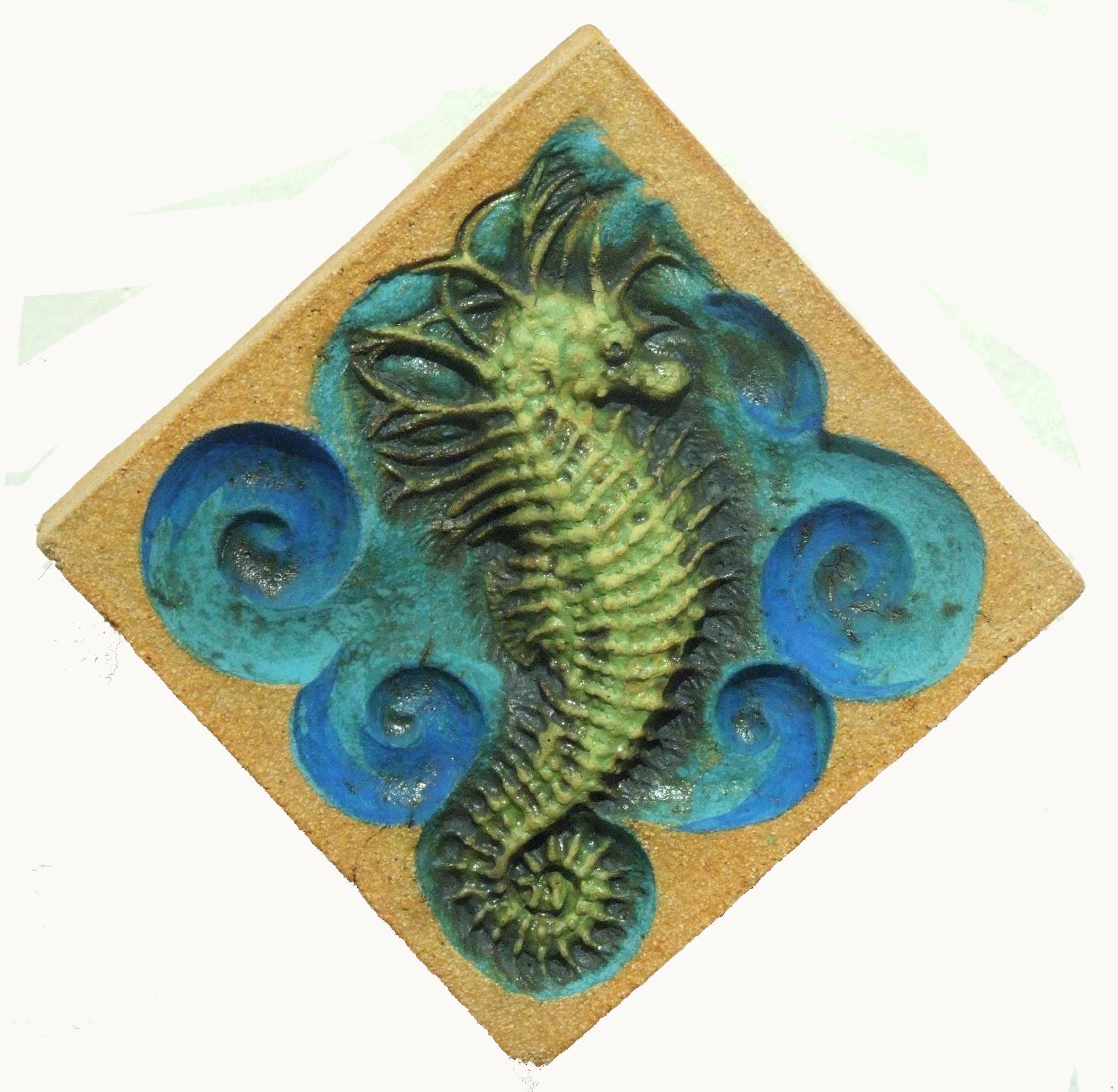 Spiny Seahorse Underglaze & Copper