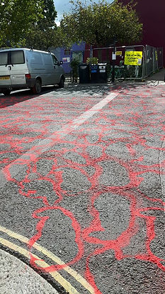 A sea of dead badger outlined in red chalk as an Art Action in Totnes in 2016