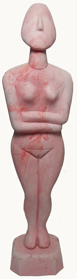 Pink marbled clay Cycladic Goddess.