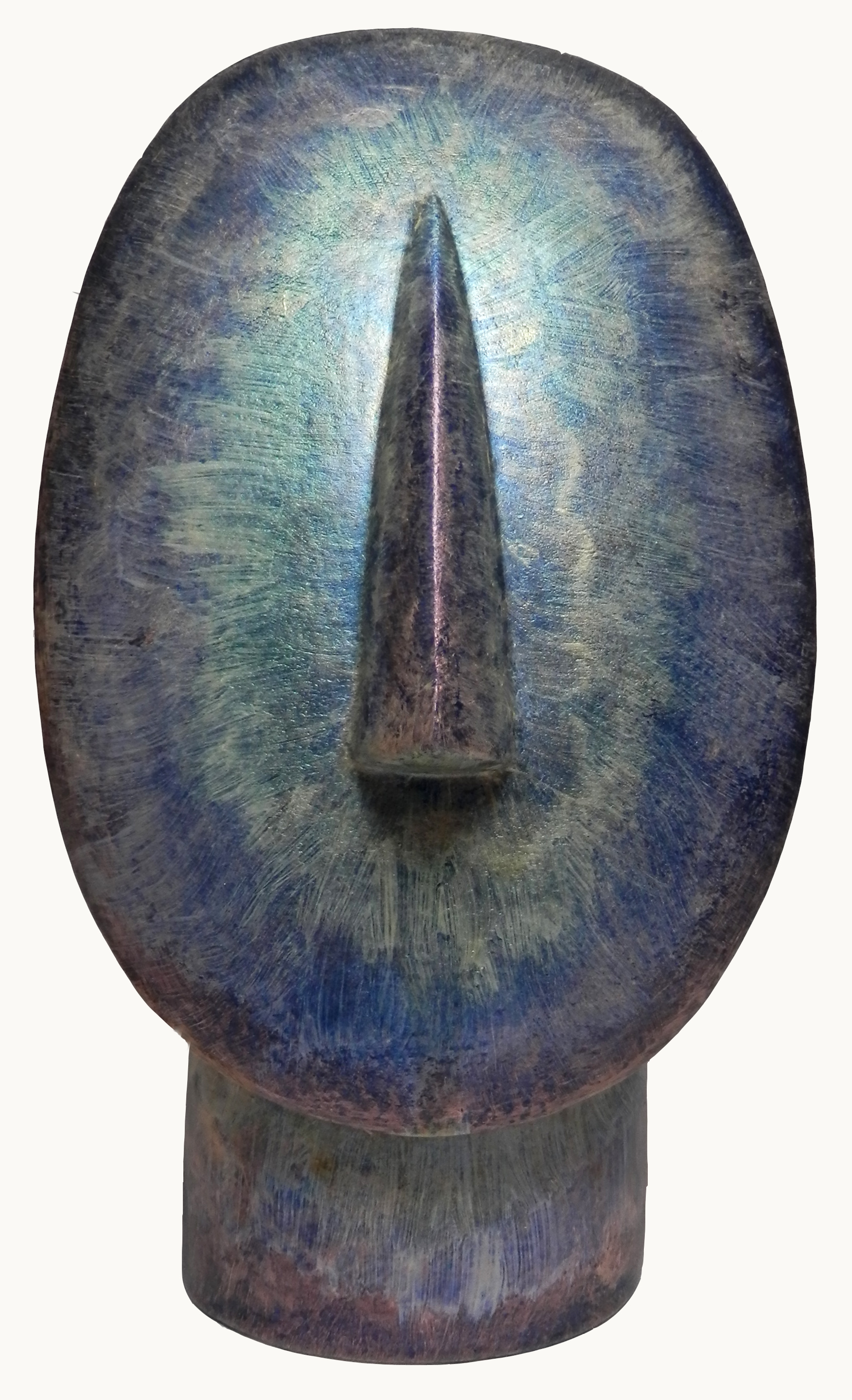 Oval Cycladic Head metallic rainbow.