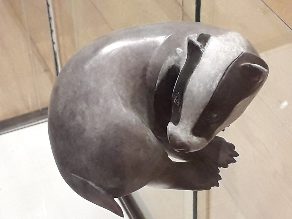 The little badger 'Persecuted' at the Society of Wildlife Artists.